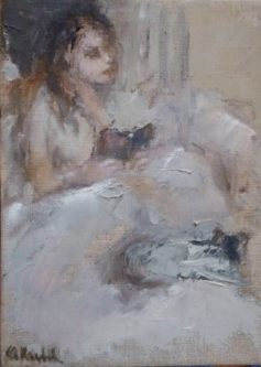 Ann Rudd  |  Reader |  Oil on linen |  7 x 5 |  $250.