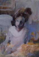 Ann Rudd  |  The Baker  |  Acrylic  on paper |  7 x 5  |  $150.  (unmframed)