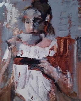Ann Rudd |  We Ponder Over Coffee |  Acrylic on paper |  7x5 |  SOLD