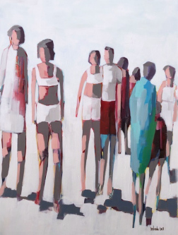 Belinda Bell |  Beach Folks |  House paint on gallery wrapped canvas |  40 x 30 |  $1,800.