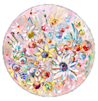 Belinda Bell |  Circle of Blooms |   Oil on masonite mounted on  2 inch panel board |  33 inch in diameter |  $1,900.