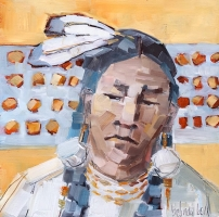 Belinda Bell   Eastern Woodland Indigenous People II  Oil on panel  8 x 8  $425.