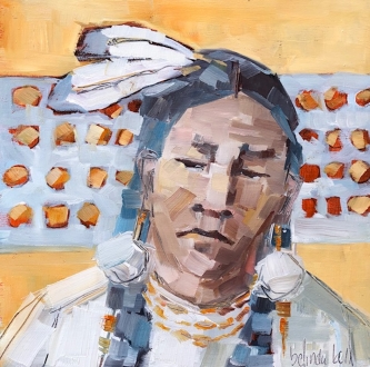 Belinda Bell   Eastern Woodland Indigenous People II  Oil on panel  8 x 8  $425. SOLD