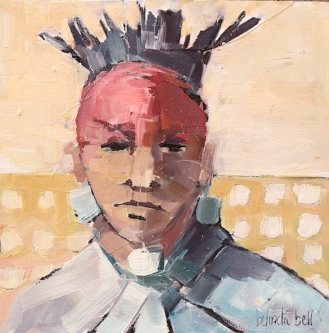 Belinda Bell   Eastern Woodland Indigenous People III  Oil on panel  8 x 8  $425. SOLD