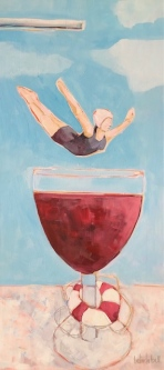 Belinda Bell |  Swanning the Vino |  Black gallery cradled frame w/white lettering (red/white wines) |  33 x 15 |  $950.