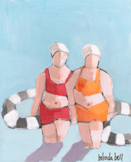 Belinda Bell |  Beach Babes |  House paint on masonite panel w/ custom cradled pine frame |  12 x 9.75 |  $500.