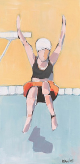 Belinda Bell |  High Dive Queen |  House paint on masonite panel w/ custom cradled panel frame |  24 x 12 |  $850.