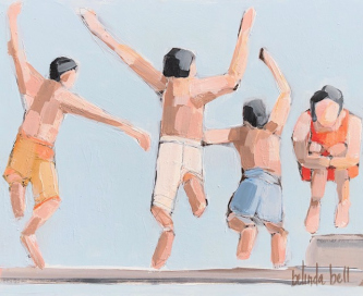 Belinda Bell  |    Kids Jumping into Pool |  House paint on masonite panel w/ custom cradled panel frame |    9.75 x 11.75 |   $500.  SOLD