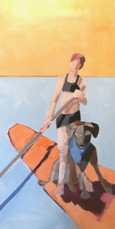 Belinda Bell |  Paddle Boarder and Dog |  House paint on masonite panel w/ custom cradled panel frame |  24 x 12 |  $850.