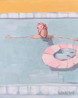Belinda Bell |   Swimmer with Vintage Daisy Swim Cap |   House paint on masonite panel w/ custom cradled pine frame |  11.75 x 9.75 |   $500. SOLD