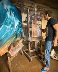 Carl White in his Studio