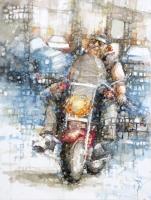 Cheryl-Elmo-Cruisin-Watercolor-on-Cradled-Board-24-x-30-2250