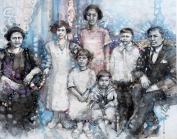 Cheryl Elmo  Family Portrait Commission  Watercolor on aquaboard 11 x 14  $1,100. - larger sizes available -inquire