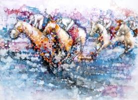 Cheryl Elmo  Justification  Watercolor on aquaboard 22 x 30  $2,250.