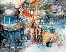 Cheryl Elmo   NYSE   Watercolor contemporary mount  on cradled board  16 x 20   $1,600.