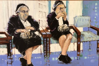Cheryl Elmo | Two Sisters | Acrylic on canvas | 24 x 36 | $1,800.  SOLD
