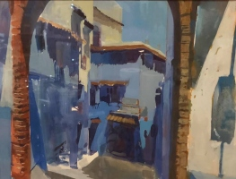 "Dale O. Roberts  ""Morning in Morocco""  Gouache  9 x 12  $900."
