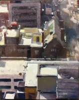 DALE O. ROBERTS  CITY ROOFTOPS  Encaustic 10 x 8  $1,800.