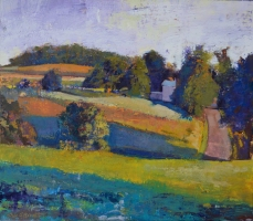 "Dale O. Roberts  ""Fields Before Dusk""  Encaustic  21 x 24  $2,400."