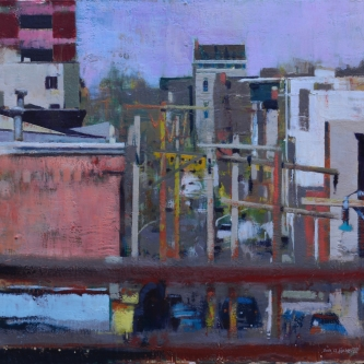 """DALE O. ROBERTS  """"FROM ANDY'S ROOF""""  Encaustic 24 x 25   $3,500.00"""