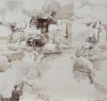 "DALE O. ROBERTS  ""REMNANTS OF TIDAL POOLS""  Silverpoint 16 x 17  $2,200."