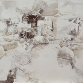 """DALE O. ROBERTS  """"REMNANTS OF TIDAL POOLS""""  Silverpoint 16 x 17  $2,200."""