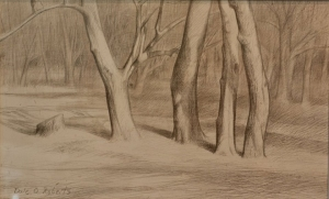 "Dale O. Roberts  ""Woods""  Silverpoint  5 x 9  $900."