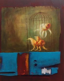 David Silvah |  Fish Cage |  Acrylic on Wood |  30 x 24 |   $800. SOLD