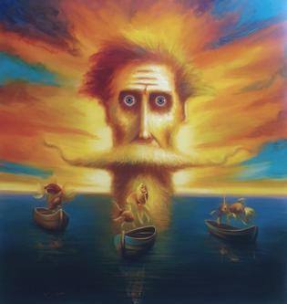 David Silvah |  Quixote Sunset |  Acrylic on Canvas |  63 x 54 |  $3,200.  SOLD