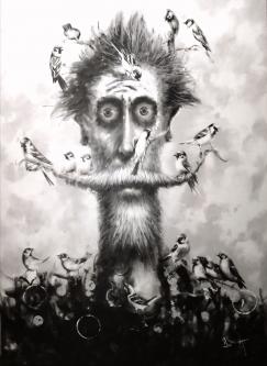 David Silvah |  Sing Little Bird, Sing, 2020 |  Acrylic on Canvas |  54 x 40 |  $2,200.