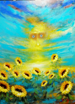 David Silvah |  Sunset for the Sunflowers, 2020 |  Acrylic on Canvas |  54 x 40 |  $2,200.