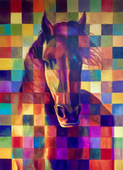 David Silvah |  Checkered Horse |  Acrylic on Canvas  |  50 x 40  |  $2000.  SOLD