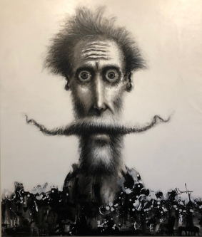 David Silvah |  Quixote Black and White |   Acrylic, Charcoal on Canvas |  63 x 54 |  $3,000. SOLD