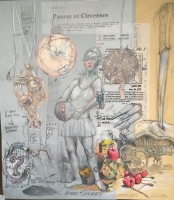 3rd Prize - Andy Walker  Bread and Circuses  Collage -Mixed Media 24 ¼ x 27 ½  $1250.