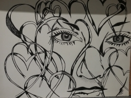 "Tracey Reichert  ""What Do You See When You Look Inside Me?%22 Drawing with Black Ink Framed 11 x 17 Unframed 9 x 12 $45"