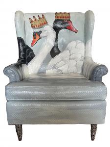 Eric Fausnacht |  Black + White Royal Swans |  Acrylic, rhinestones |  39 x 37 x 32 |  $1,200.
