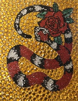 Eric Fausnacht  Snake with Rose  Hand-embellished  20 x 16  $900.