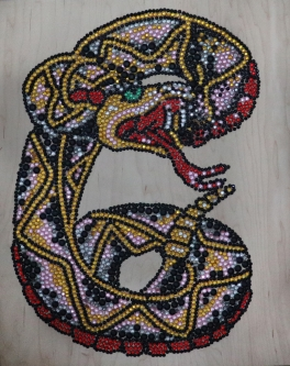 Eric Fausnacht  Rattlesnake  Acrylic-jewels on panel  20 x 16  $800