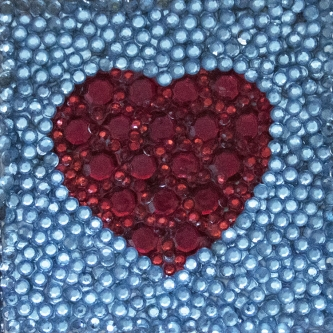Eric Fausnacht  Red Heart   Acrylic-jewels on panel  5 x 5  $150.