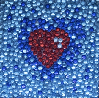 Eric Fausnacht  Red Heart Double Blue  Acrylic-jewels on panel  5 x 5  $150.