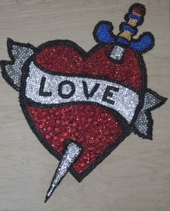 Eric Fausnacht  Red Heart Love  Acrylic-jewels on panel  20 x 16  $800.