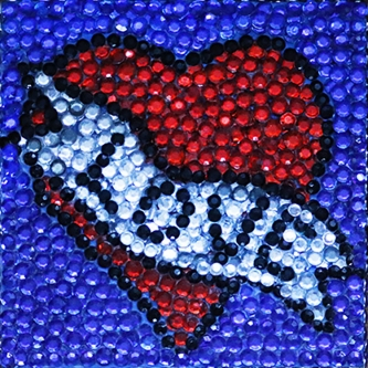 Eric Fausnacht  Red Heart Love Acrylic-jewels on panel  5 x 5  $150.