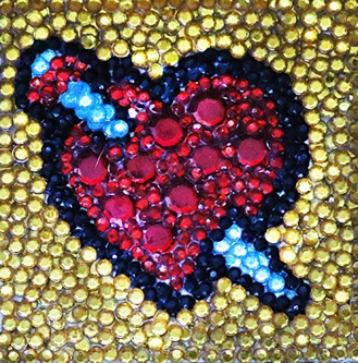 Eric Fausnacht  Red Heart w/Sword  Acrylic-jewels on panel  5 x 5  $150.