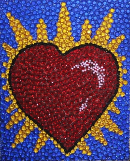 Eric Fausnacht  Sacred Heart  Acrylic-jewels on panel  20 x 16  $800.