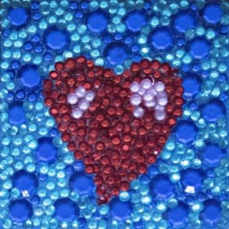Eric Fausnacht  Sacred Heart  w/Double Blue  Acrylic-jewels on panel  5 x 5  $150.