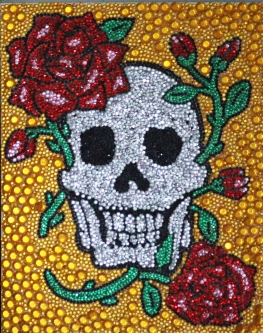 Eric Fausnacht  Skull with Roses  Acrylic-jewels on panel  20 x 16  $800.