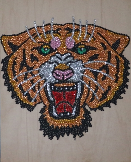 Eric Fausnacht  Tiger  Acrylic-jewels on panel  20 x 16  $800.