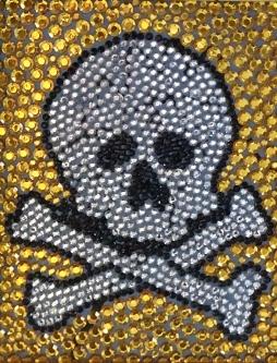 Eric Fausnacht  Skull  Hand-embellsihed  10 x 8  $250.