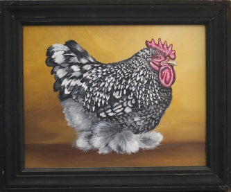 Eric Fausnacht  Black and White Cochin Rooster  Acrylic   16 x 20  $600.