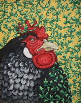 Eric Fausnacht  Black Hen with Ivy Crewelwork  Acrylic   20 x 16  $800.